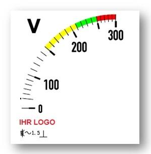 Skala für Voltmeter, Farbbalken gelb,grün,rot